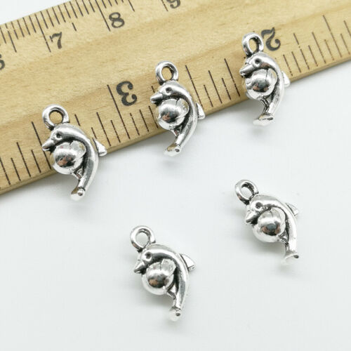 Wholesale dolphins antique silver charms pendants jewelry DIY 15*9mm