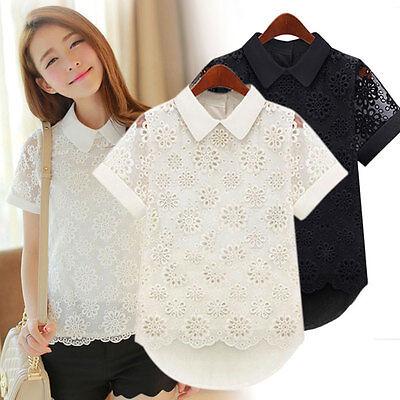 Elegant Lady Women Lace Organza Hollow Chiffon Short Sleeve T-Shirt Tops Blouses