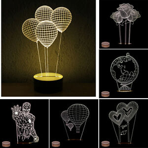 3d night light pmma carving led lamp w wooden base table lamp room. Black Bedroom Furniture Sets. Home Design Ideas