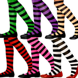 034ef6e80 Image is loading Striped-Colour-Girls-Tights -Fancy-Dress-Fairytale-Halloween-