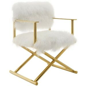 Amazing Details About Action Pure White Cashmere Accent Directors Chair In Gold And White Inzonedesignstudio Interior Chair Design Inzonedesignstudiocom