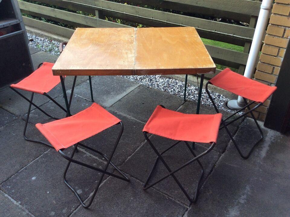 Retro Campingbord med 4 stole