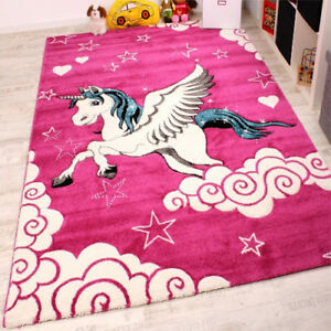 Image Is Loading Pink Animal Rug S Bedroom White Horse Kids