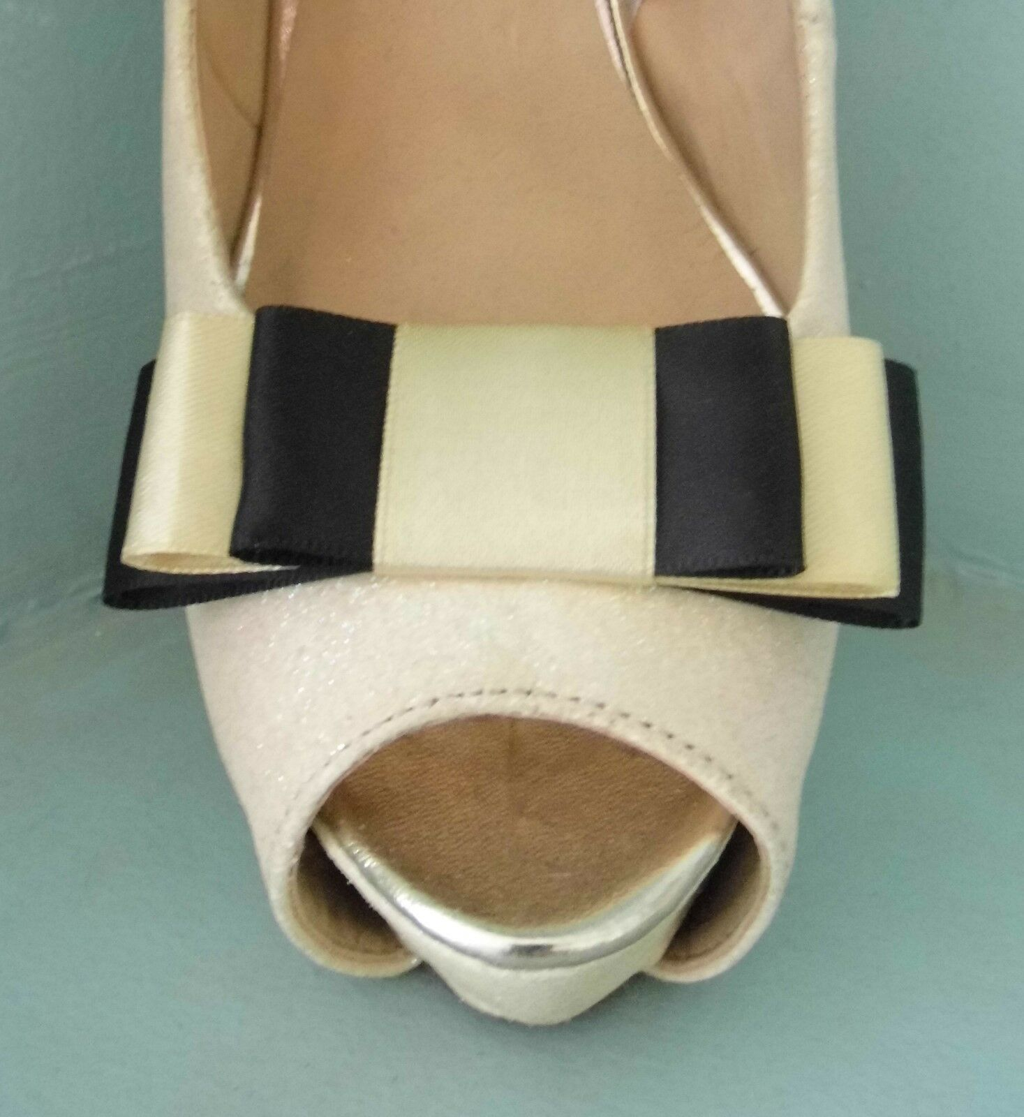 2 Handmade Black & Gold Triple Bow Clips for Shoes - other colours on request