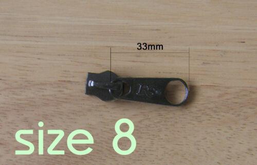 5 or 7 8 BLACK OR SILVER Zipper slider WATERPROOF ZIP 3 ZIP PULL Zip Slider