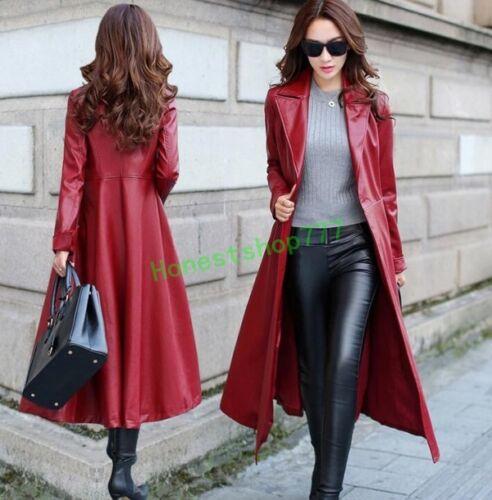 femmes d'hiver de cuir cuir long manteau d'uniforme élégant femmes de Manteau manteau de en de manteau chauds de pour d'ajustement vp1nwqS4