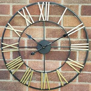 Provided Large Skeleton Home Garden Wall Clock Roman Numeral Open Face Modern Metal Round Home Décor Home Décor