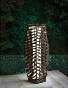 Rattan Effect Solar Lantern Floor Lamp LED Outdoor Garden Lights Patio 69cm Tall