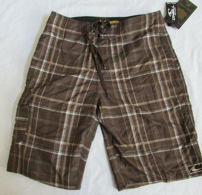 O'Neill mens 30 brown plaid hybrid board shorts walking shorts NEW