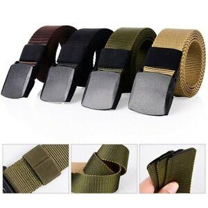 Reglable-Hommes-Sport-Militaire-Plastique-Boucle-Ceinture-Toile-Bracelet