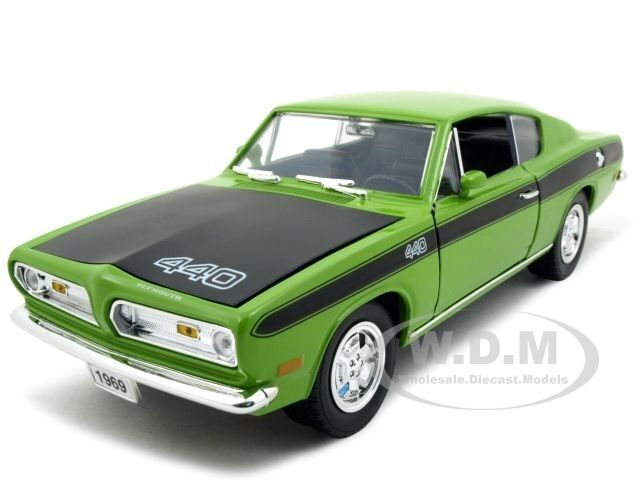 1969 Plymouth Barracuda 440 Green 1 18 Model by Road Signature 92179