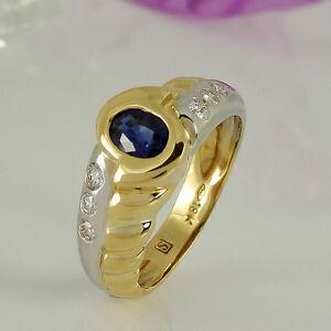 Ring-in-750-Gelb-Weissgold-1-Saphir-ca-0-60-ct-6-Diamanten-ca-0-30-ct-Gr-56