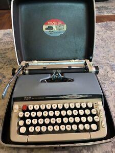 Vintage Smith Corona Galaxie II Manual Typewriter and  Case - Blue & Cream