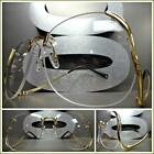 HUGE OVERSIZED VINTAGE RETRO Style Clear Lens SUN GLASSES Upside Down Gold Frame