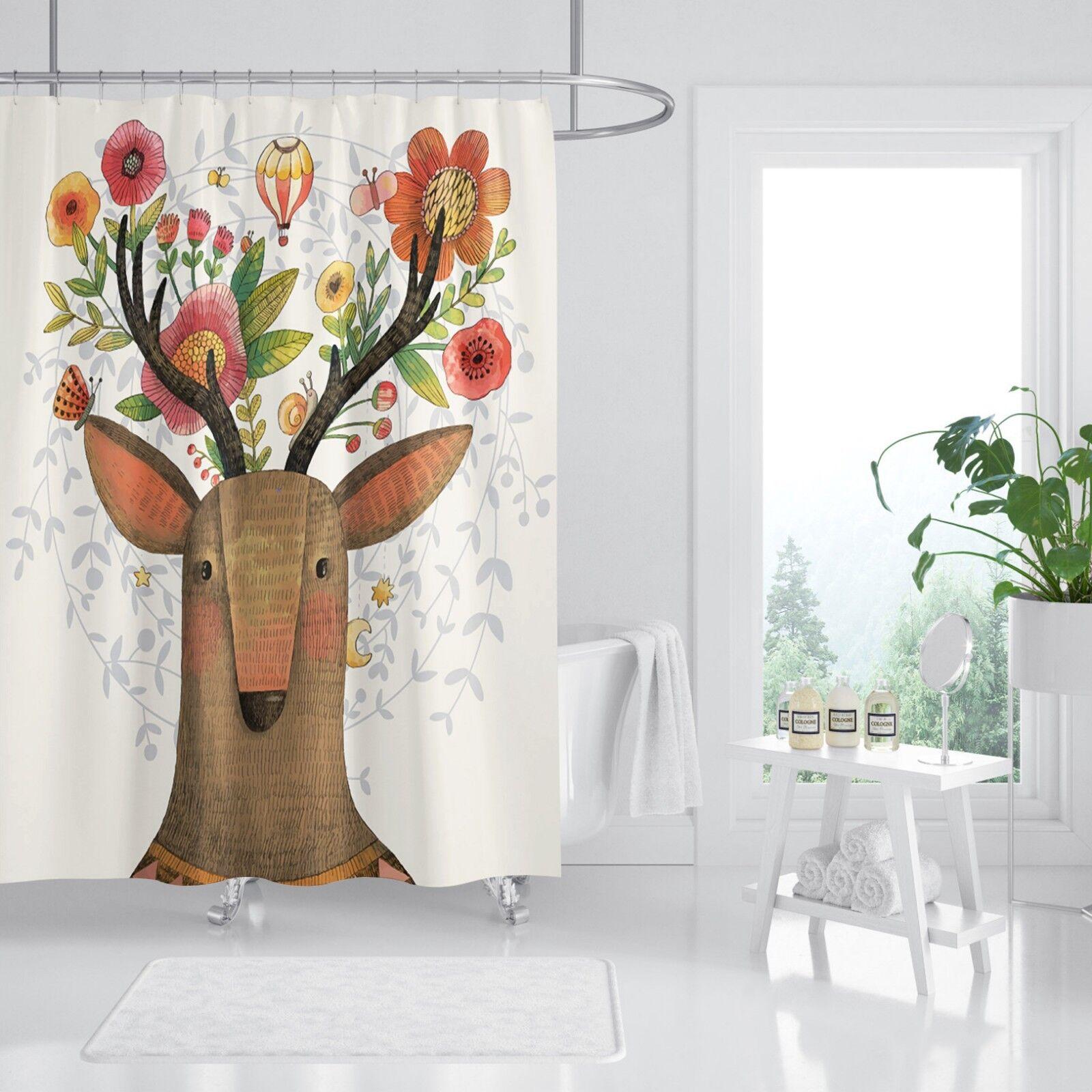 3D Fleur Deer 5353 Rideau de Douche Imperméable Fibre Salle de Bain Home Windows Toilette