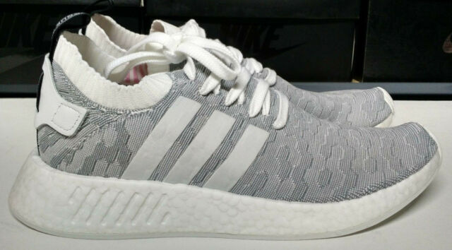 Adidas NMD R2 PK Womens Size 10.5 Primeknit White Grey Black Pink Shoe  BY9520 07514de4aaf2