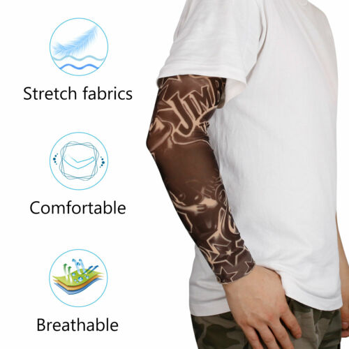 10 Pcs Men Temporary Tattoo Cooling Arm Sleeve Cover UV Protection Outdoor Sport
