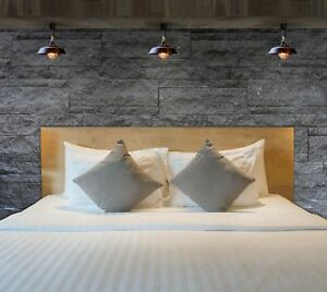 Hoja-plana-100-algodon-peinado-Saten-Raya-Hotel-Calidad-Facil-cuidado-todos-los-tamanos-de-cama