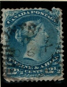 Canada-1868-1890-Queen-Victoria-12-cents-blue-SG60-Used