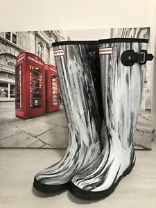 Women/'s Rain Boots Lady Rubber Black Swirl Plaid Rain Boot
