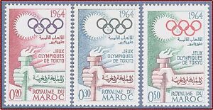 1964-MAROC-N-476-478-Jeux-Olympiques-Tokyo-1964-MOROCCO-Olympic-games-set-MNH