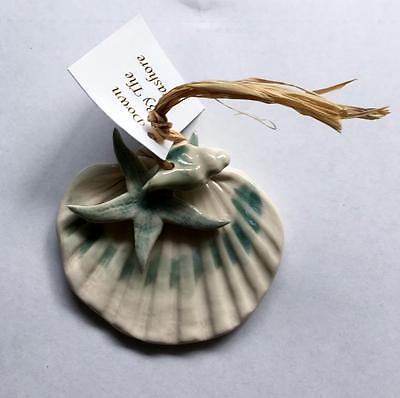Blue Sky Pottery, Individually Hand Crafted Porcelain Green Shell Ornament