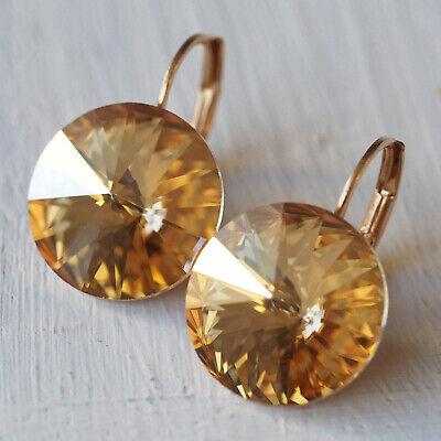 Nuovo Oro Rosa Orecchini 14mm Swarovski Pietre Golden Shadow/marrone Chiaro Orecchini-un Ohrringe It-it Mostra Il Titolo Originale