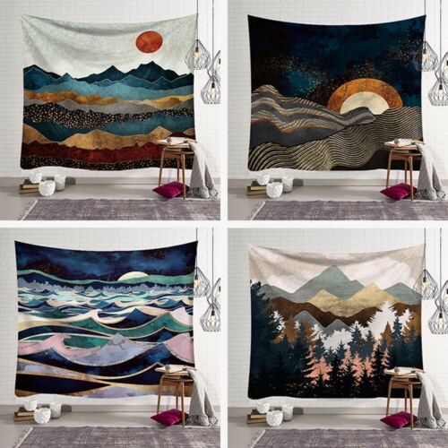 Tapestry Japanese Abstract Mountain Ocean Waves Wall Hanging Bedroom Décor K6