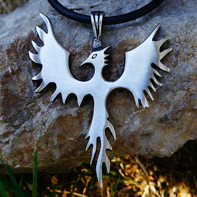 Medieval Phoenix Phenix Firebird Sunbird Magic bird Dragon Cross Pewter Pendant