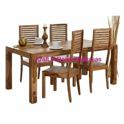 Kraftndecor contemporary wooden dining table with 4 chair for Four chair dining table set