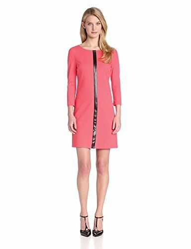 Vince Camuto Women's 3 4 Sleeve Print Shift Dress, Hot Coral, 10