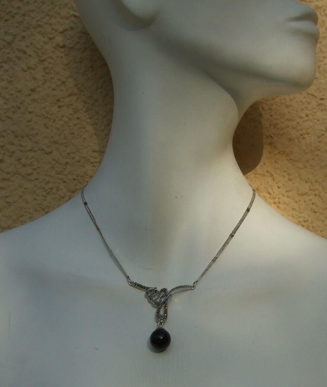 Onyx Onyx Onyx A SFERA NERO 40x splendente Markasit 925 argentoo Catena Big nero Magic Ball eee6c1