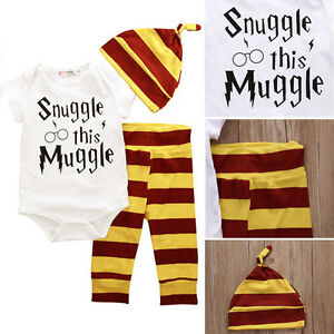 4ba407961 Details about AU 3PCS Harry Potter Snuggle This Muggle Baby Clothes Top  Pants Beanie Outfit