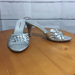 Banana-Republic-Silver-Metallic-Slides-Sandal-Shoes-Size-7-5-Heels-prom-braid