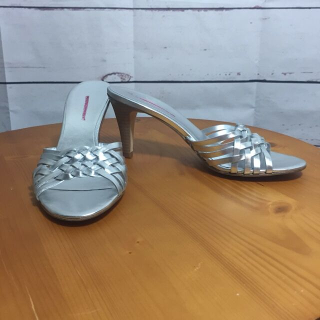 Banana Republic Silver Metallic Slides Sandal Shoes Size 7.5 Heels prom braid