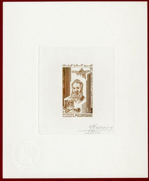 Mauritanie 1976 #350, Artiste Signée Die Proof, A. Bell, Inventeur Du Téléphone Fournir Des CommoditéS Pour Le Peuple; Rendre La Vie Plus Facile Pour La Population