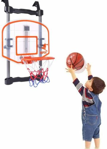 DUNLOP 8PC BASKETBALL RING HOOP WITH SOUND MUSIC OVER THE DOOR ADJUSTABLE HEIGHT
