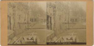 Parigi Wharf Da Debilly Francia Foto Stereo Vintage Albumina