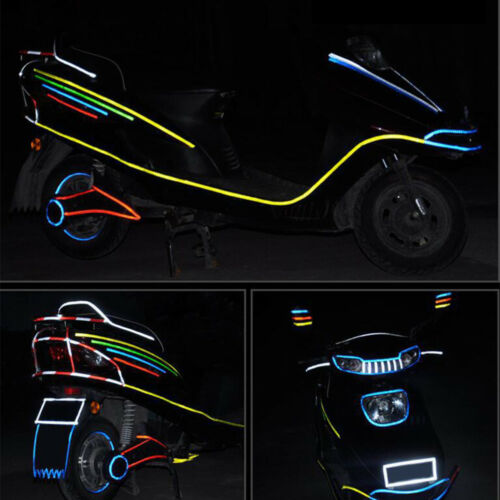 Motorcycle Bicycle Reflector Security Wheel Rim Decal Tape Reflective Stickers ~