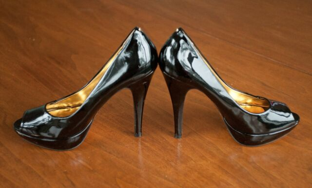 Ted Baker HALESIA Women US Size 9 Black Patent Leather Peep Toe 5