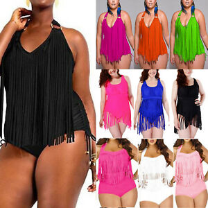 Details about Plus Size Women Tassel Fringe Padded Bikini Tankini Ladies Swimwear Swimsuits