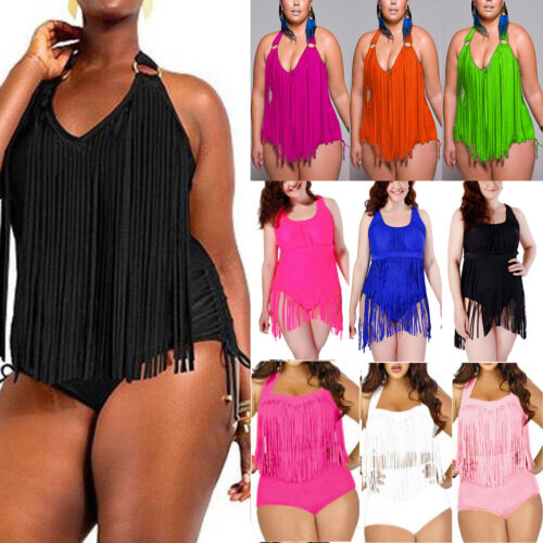 Women Tassel Bikini Tankini Monokini Push Up Swimwear Beach Swimsuit Plus Size