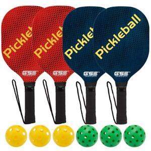 Deluxe Pickleball Set. Includes 4 Hardwood Pickleball Paddles- 6 Balls- Mesh Bag JUSyT6rG-07150221-467175070