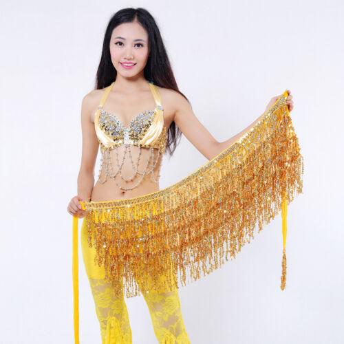 Women Belly Dance Glitter Swing Sequins Tassel Fringe Hip Belt Waist Wrap Skirt
