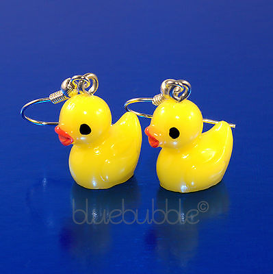 FUNKY 3D RUBBER DUCKY EARRINGS CUTE KITSCH FUN GIRLS SWEET COOL KAWAII DUCK BIRD