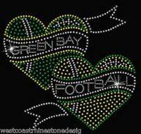 Green Bay Packers Football Hearts Rhinestone Iron On Transfer Z383
