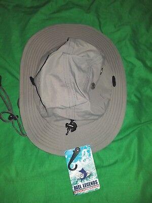REEL LEGENDS Men's Med//Lg Point Break Water Hat Pewter W// Chin Strap Fishing NWT