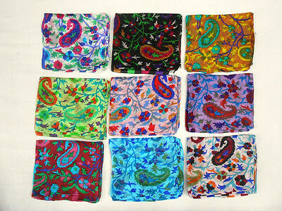 10 Pieces Indian Pure Silk Scarf Kashmir Design Stole Shawl Wholesale Lot  Women