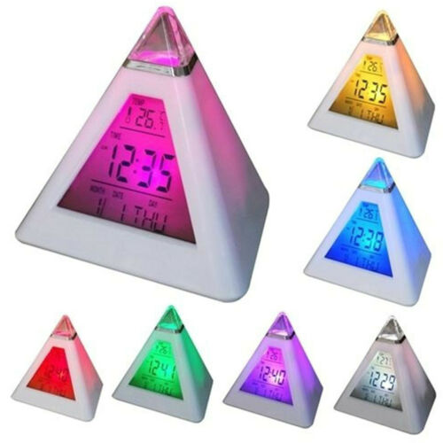 Details about  /Alarm Clock LED Digital Thermometer Wake Up Light Night Clock Battery Operated