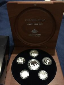 2005-Fine-Silver-Proof-Year-Set-In-Timber-Presentation-Case-6-Coins-War